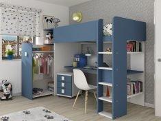 blå køyeseng med garderobe og skrivebord